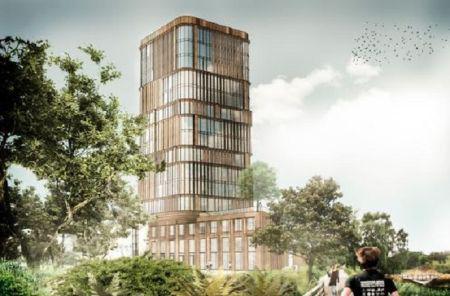 60 meter højt hus får facaden på plads