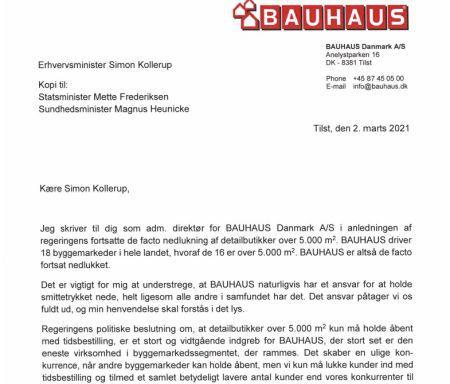 Bauhaus klager direkte til ministeren